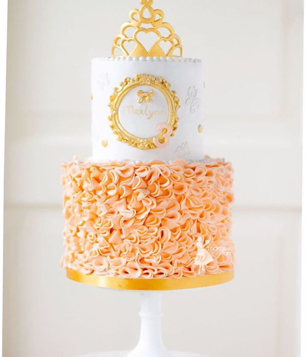 Peach Princesscake With Golden Tiara
