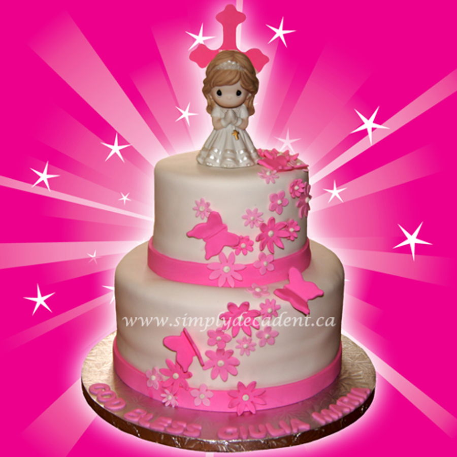 2 Tier Fondant 1St Communion Cake With Pink Fondant Cross, Flowers & Butterflies. on Cake Central