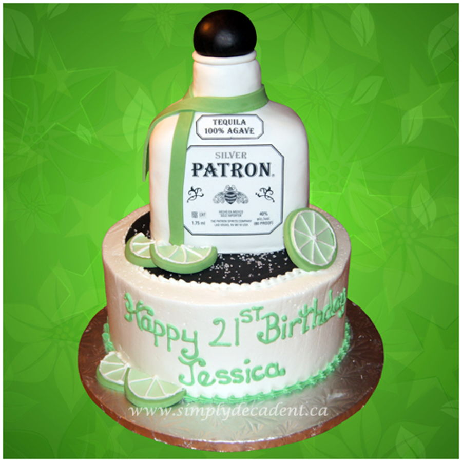Fantastic 3D Patron Tequila Birthday Cake With Fondant Limes Sugar Salt Personalised Birthday Cards Veneteletsinfo