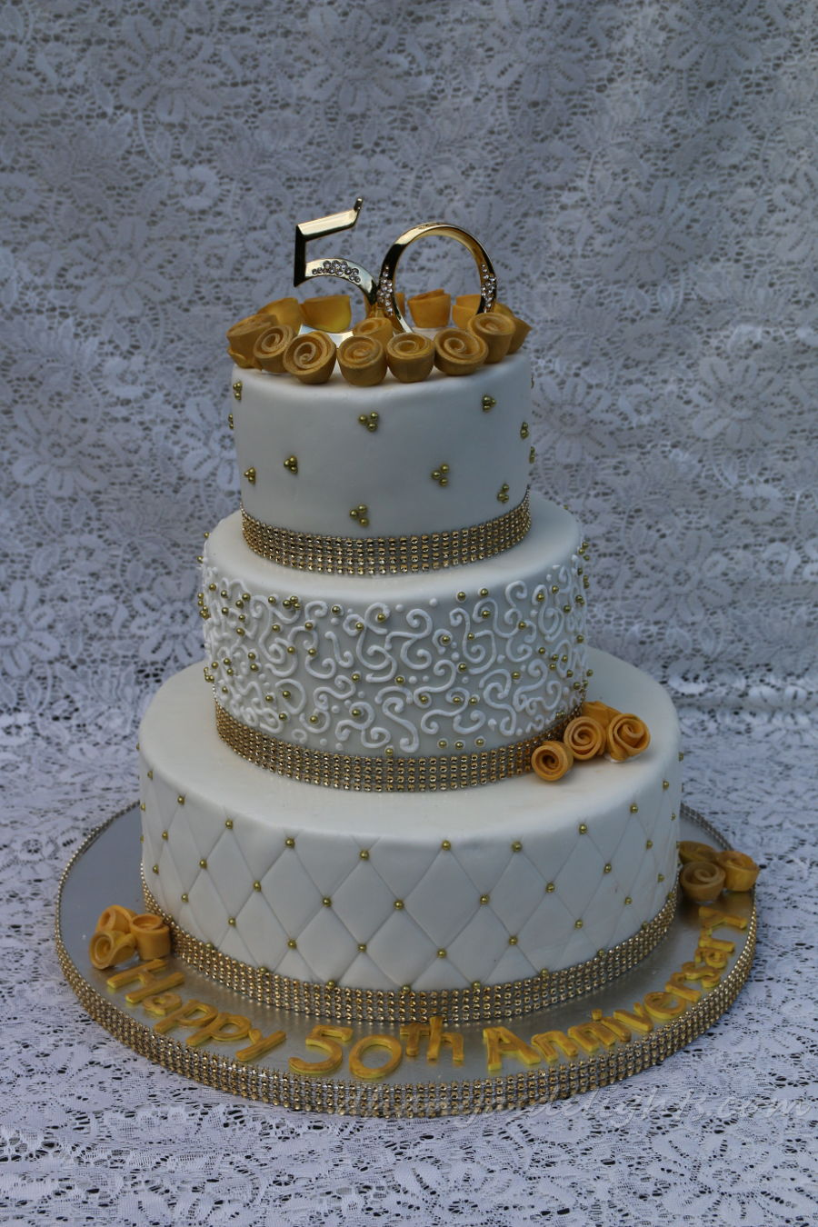 Th Golden Wedding Anniversary Cakes