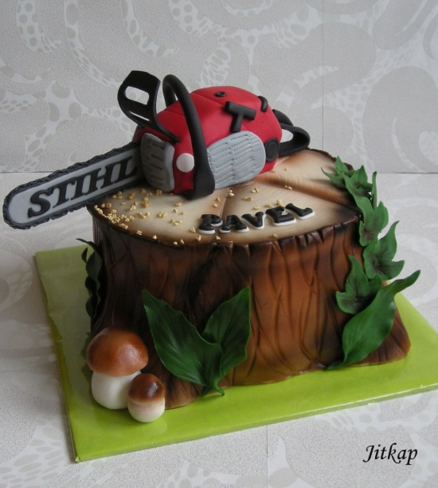 A Stump With A Chainsaw Cakecentral Com