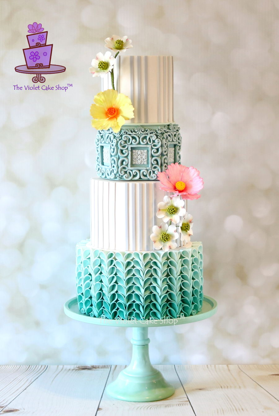 Blue Ombré With V-Petal Ruffles on Cake Central