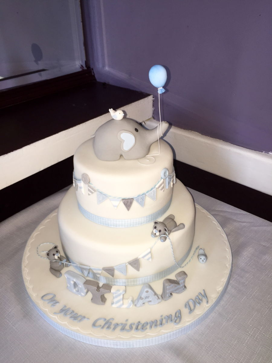 Christening Cake Elephant And Bunting Cakecentral Com