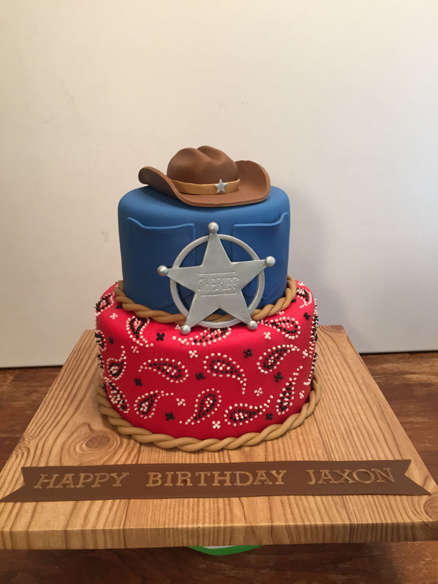 Astonishing Cowboy Birthday Cake Cakecentral Com Funny Birthday Cards Online Inifodamsfinfo