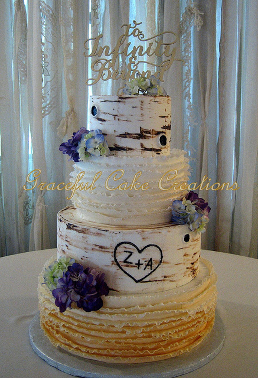 Elegant Rustic Birch Bark Wedding Cake Cakecentral Com