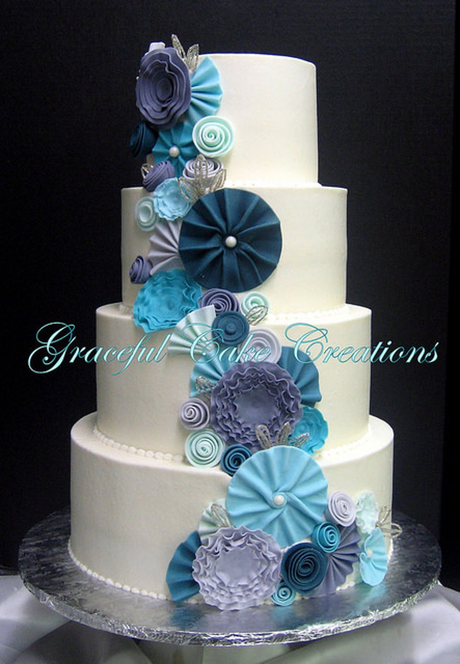 Elegant White Wedding Cake With Whimsical Fondant Flowers on Cake Central