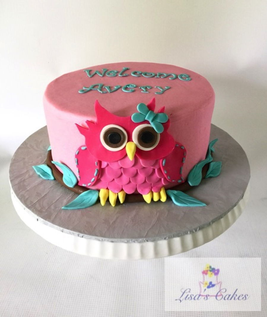 Girl Owl Baby Shower Cake Cakecentral