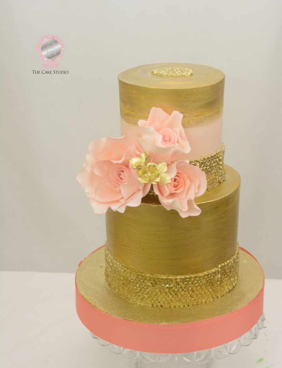 Gold And Coral Cake on Cake Central