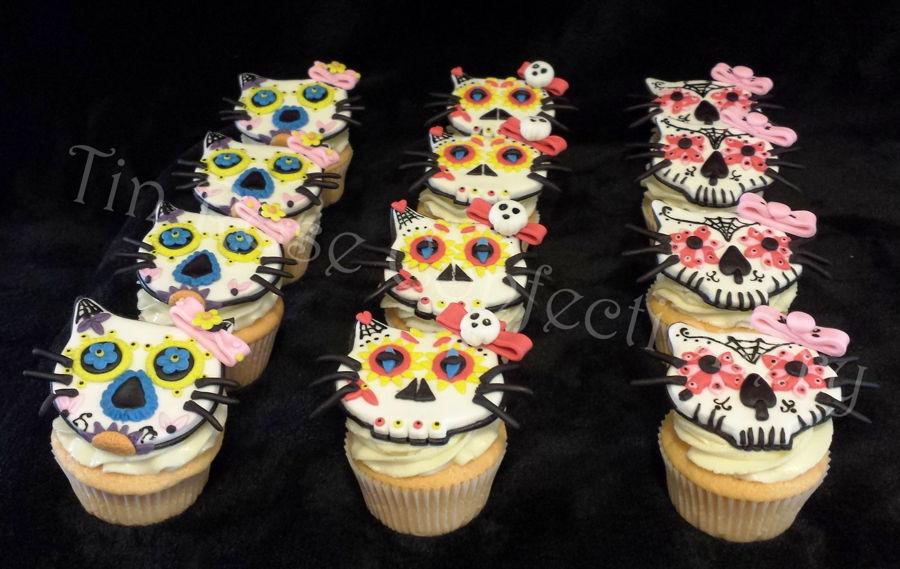 Hello Kitty Sugar Skull Cupcakes