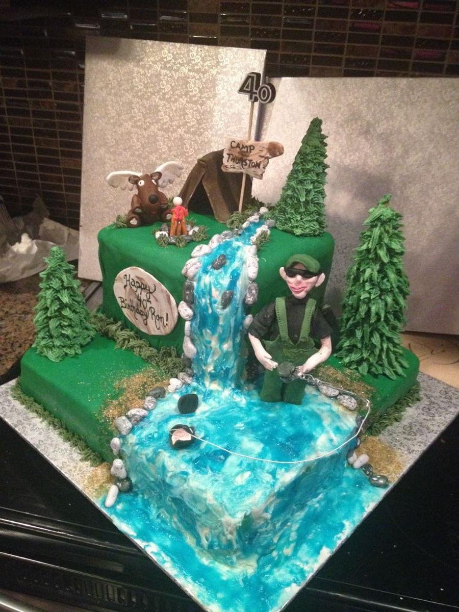 Hunting fishing theme cake for Fishing birthday cake