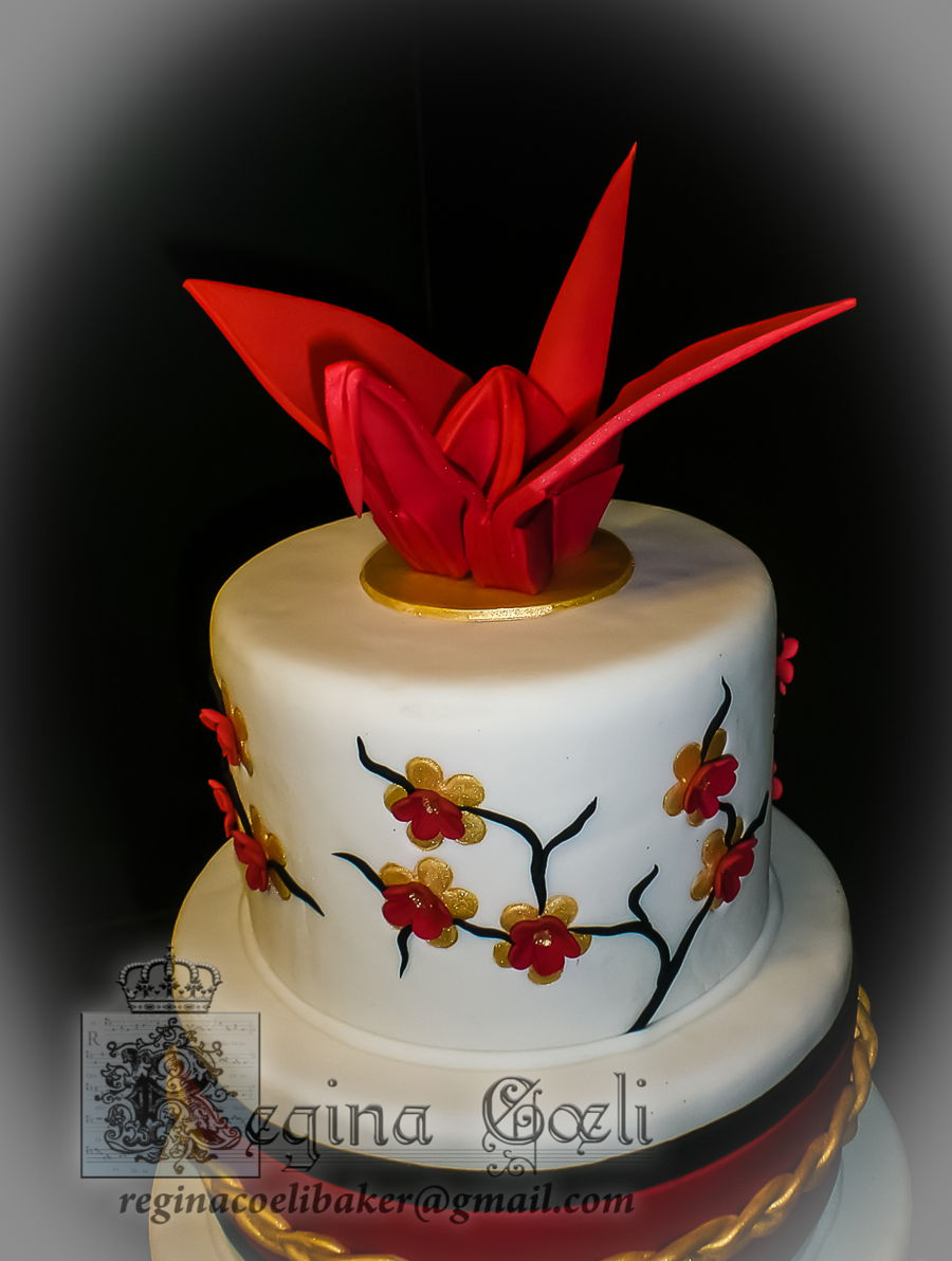 japanese origami crane wedding cake cakecentralcom