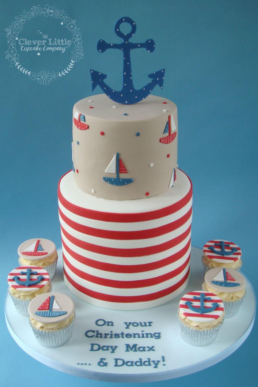 Nautical Themed Christening Cake CakeCentralcom