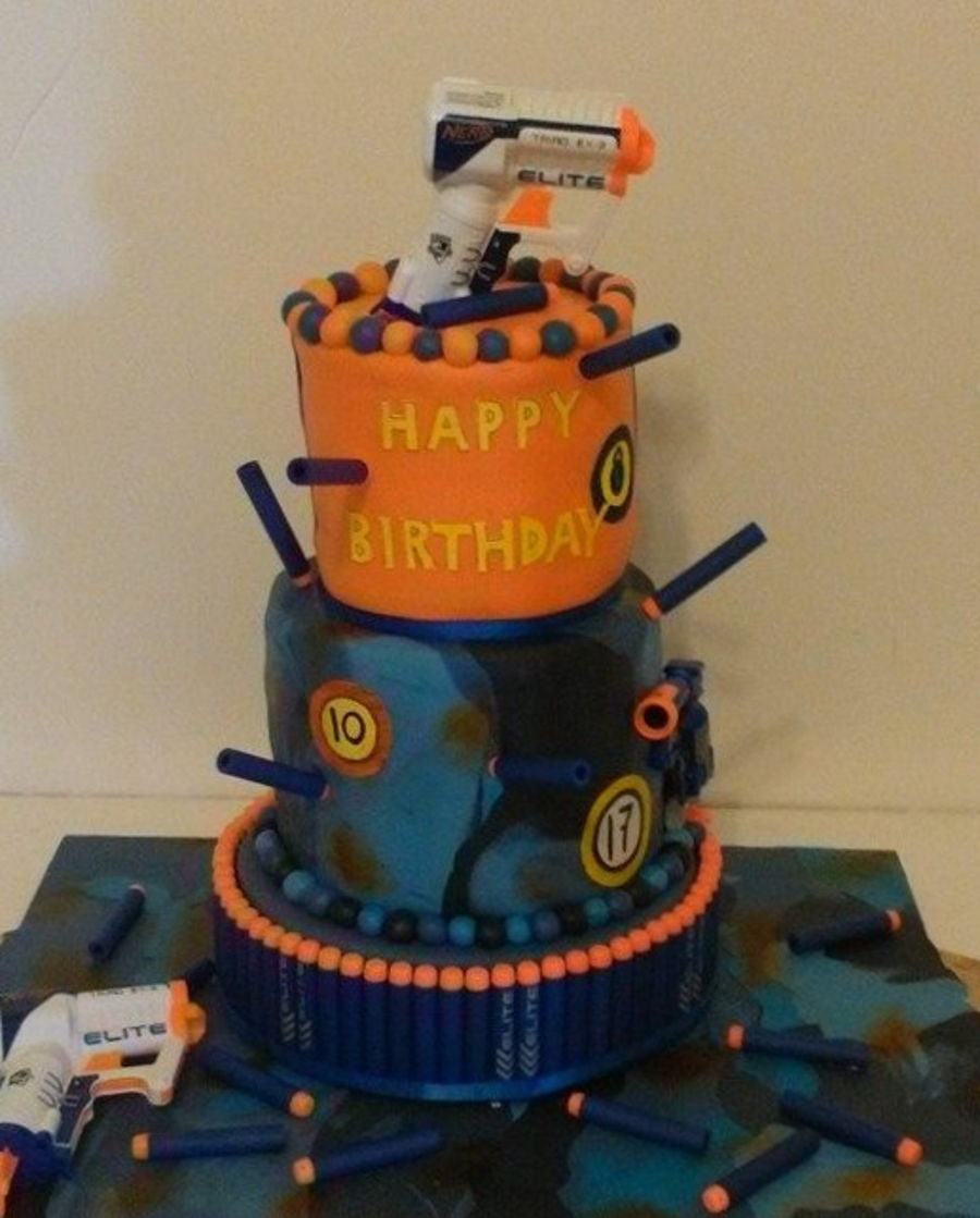 Nerf Cake For 3 Boys Cakecentral Com