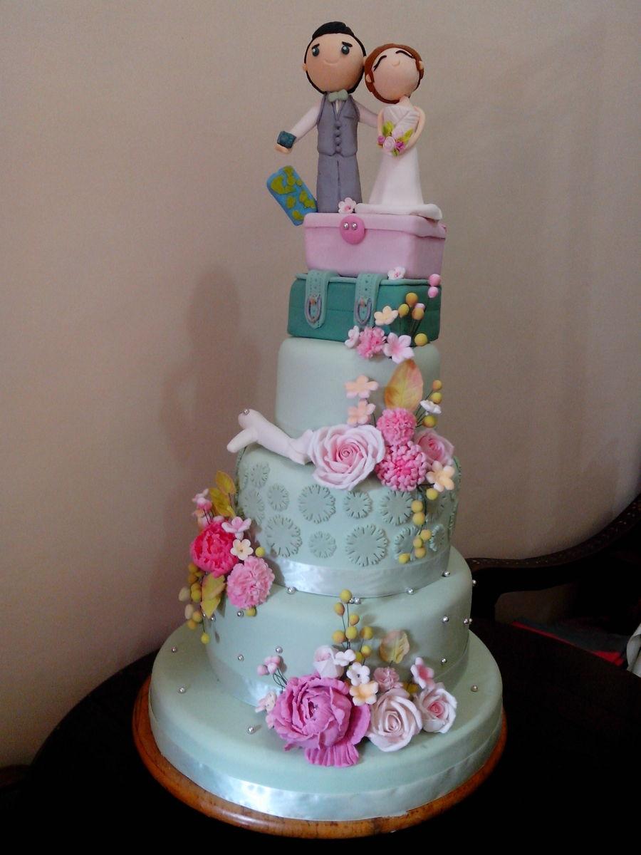 Pastel Green And Pink Wedding Cake CakeCentralcom - Pastel Pink Wedding Cake