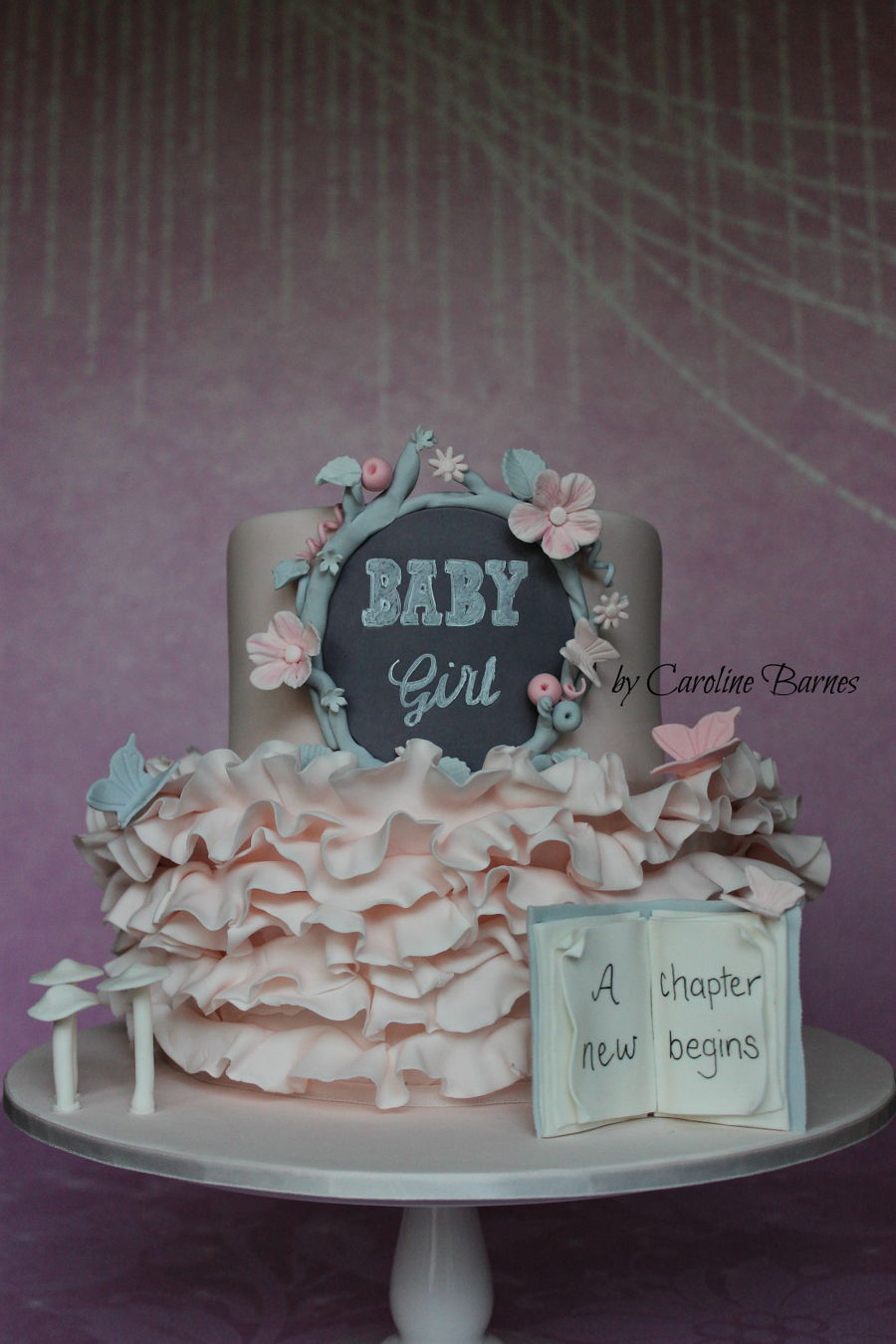 Pink And Grey Enchanted Forest Baby Shower Cake