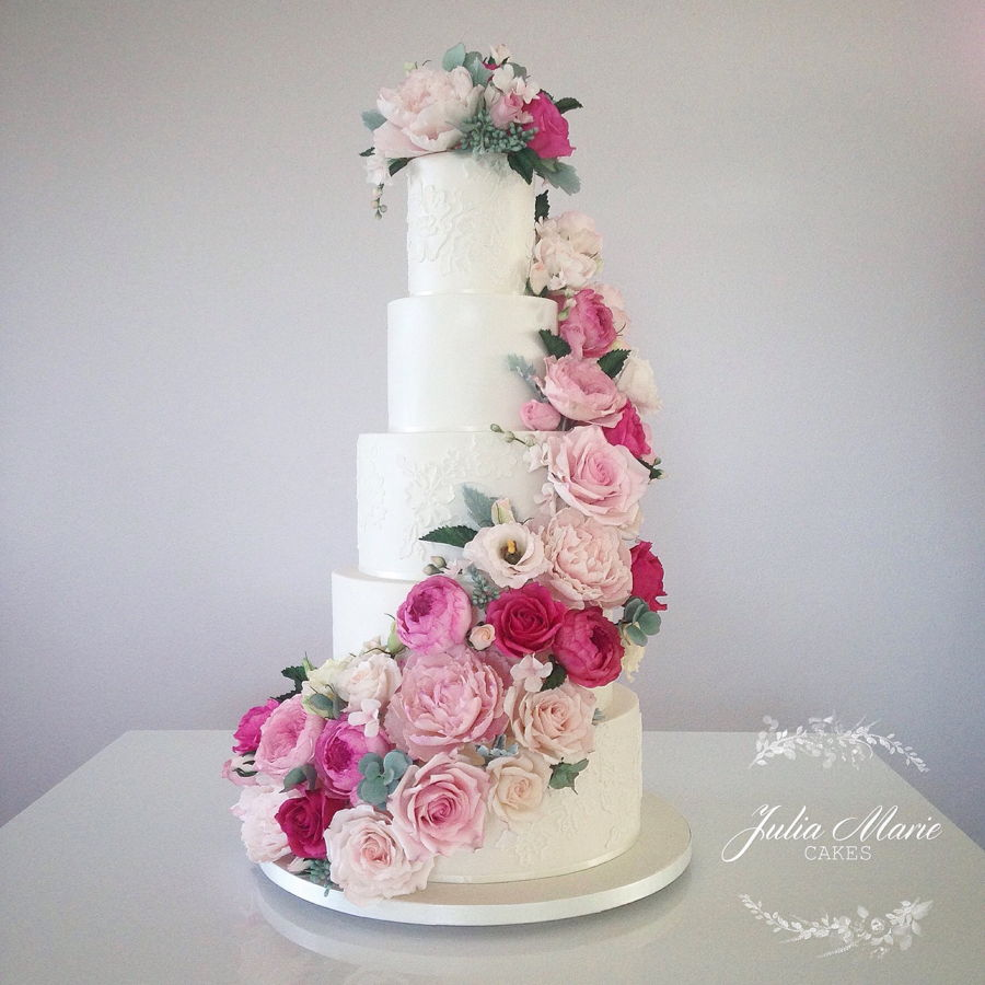 wedding cake pictures with cascading flowers pink floral cascade wedding cake cakecentral 23446