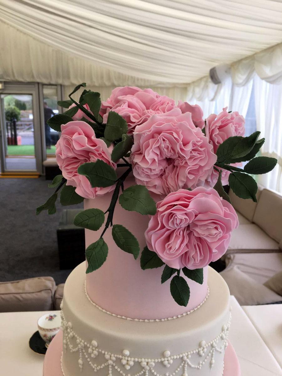 Ruffles And David Austin Roses Wedding Cake CakeCentralcom - Austin Wedding Cake