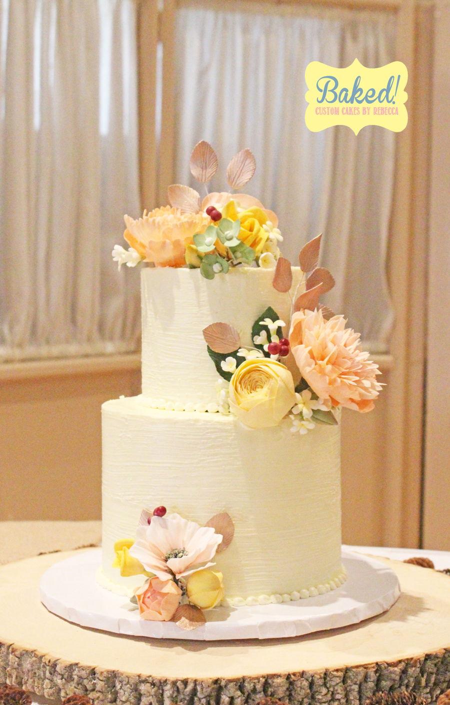 Rustic Flower Wedding Cake - CakeCentral.com