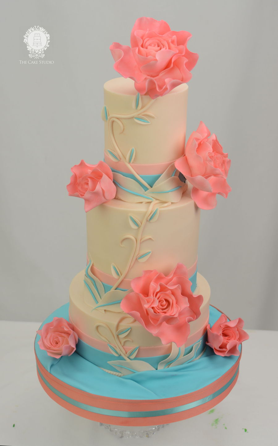 Teal And Coral Wedding Cake Cakecentral Com