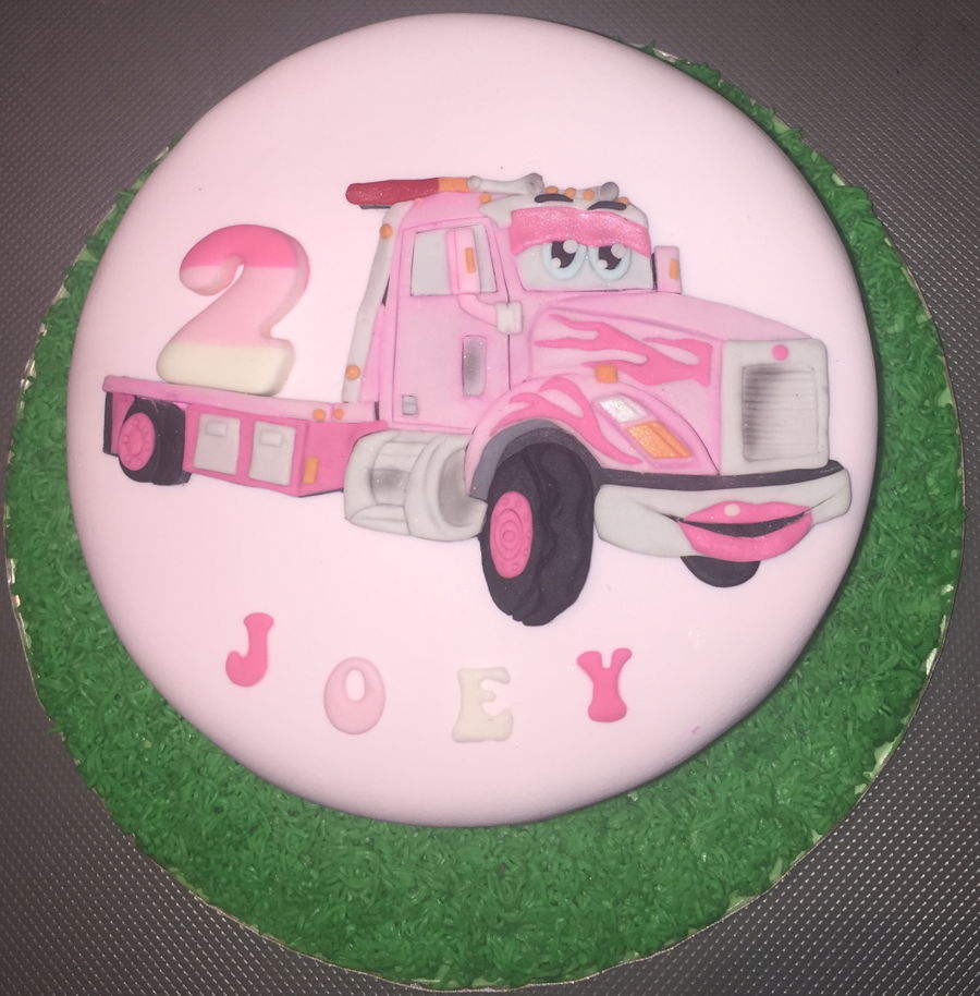Groovy Truck Themed Cake For A 2 Year Old Girl Cakecentral Com Funny Birthday Cards Online Eattedamsfinfo
