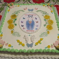"90Th Birthday Cake 16"" x 16"" cake airbrushed roses with fondant decorations.Birthday cake for a 90 year old woman who loves and collects angels"