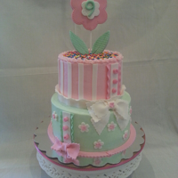 Abby's Cake Soft pink and green decorate this cake for my Grandaughter
