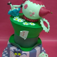 Alice In Wonderland Birthday Cake two tiers, madeira cake with chantilly and raspberries...a cake for Alice (!!) law degree...