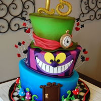 Alice In Wonderland Quinceanera Fondant style Topsy Turvey Alice in Wonderland theme. Quinceanera cake.