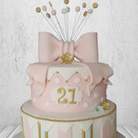 Ambers 21St   2 Tier cake created for Ambers 21st. in tones of pink, gold and white