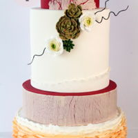 Autumn Garden Wedding Cake Autumn wedding cake with succulents and ranunculuses. Ruffle and Cracked effect were used on two bottom tiers.