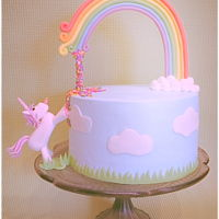 Ava's Unicorn & Rainbow Birthday All buttercream cake with fondant/gumpaste rainbow and unicorn. The original of this cake was done by Vertotelt aus Torte wird Kunst. Her...