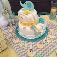 Baby Shower Elephant Cake. So much trouble with elephant skin on this cake. Can't figure out why? It looks beautiful rolled out but as soon as I...