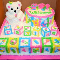 Baby Shower Bear And Block Cake Buttercream