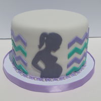 Baby Shower Chevron Cake Chevron baby shower cake with pregnant silhouette.