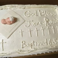 Baptism Cake All white cake with fondant baby boy