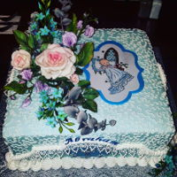 Baptism Cake  SMBC Lemon Cake, Gumpaste hand-painted plaque, Gumpaste Roses, Sweet peas, Eucalyptus, Fantasy Flowers, Royal Icing Lace Pieces, Molded...