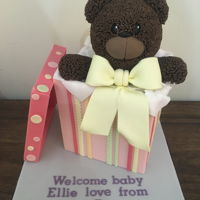 Bear In A Box Cake Bear in a box cake to welcome a new baby