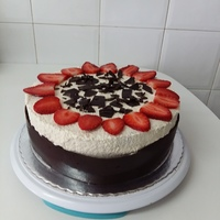 Bela's 60Th Birthday Sponge cake filled with strawberry curd and covered with cream cheese cream, tempered chocolate and strawberrys