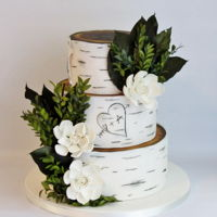 "Birch Wedding Cake 6""+8""+10"" air brushed top with faux foliage and gumpaste gardenias."
