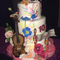 Birthday Cake Handpainted birthday cake with violin topper