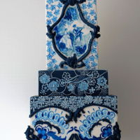Blue & White Cake It has been long time I was thinking to create a cake like this inspired by the beautiful china collection. All the details are hand...