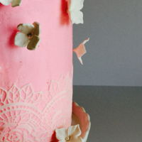 Blush Pink Buttercream Wedding Cake   Blush pink buttercream with edible lace and sugar hydrangea