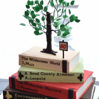 Books And Tree   Birthday cake for an environmental lawyer.