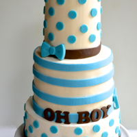 Boy Oh Boy Oh Boy Swiss Meringue buttercream with chocolate dots and bows, gum paste letters and fondant stripes. Alternating vanilla and chocolate cake...