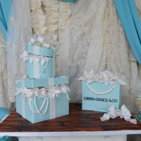Breakfast At Tiffany's Cake Inspired by Tiffany blue, this cake is a three year old's gift box and bag cake.