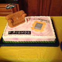 "Bridal Shower Cake ""friends"" Theme Half sheet cake decorated with the ""Friends"" theme, the sofa was made with rice krispy treats."