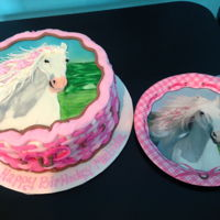 "Buttercream Horse Cake 8"" round cake decorated like the birthday girl's plates for her party. All buttercream with an airbrushed background."
