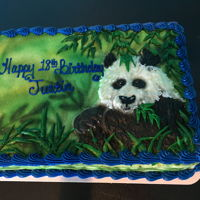 Buttercream Panda Sheet Cake This was a 1/4 sheet cake, decorated with buttercream. I airbrushed the background, then piped the panda in white buttercream and...