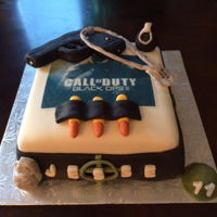 Call Of Duty Cake   Fondant covered chocolate cake.
