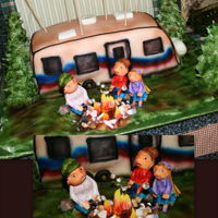 Camping Cake Camper cake is carved from orange cream cake that is iced in buttercream and covered in mmf. Pine trees are sugar cones with buttercream...